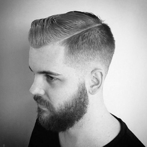 Short comb over hairstyle with temple fade - balding men