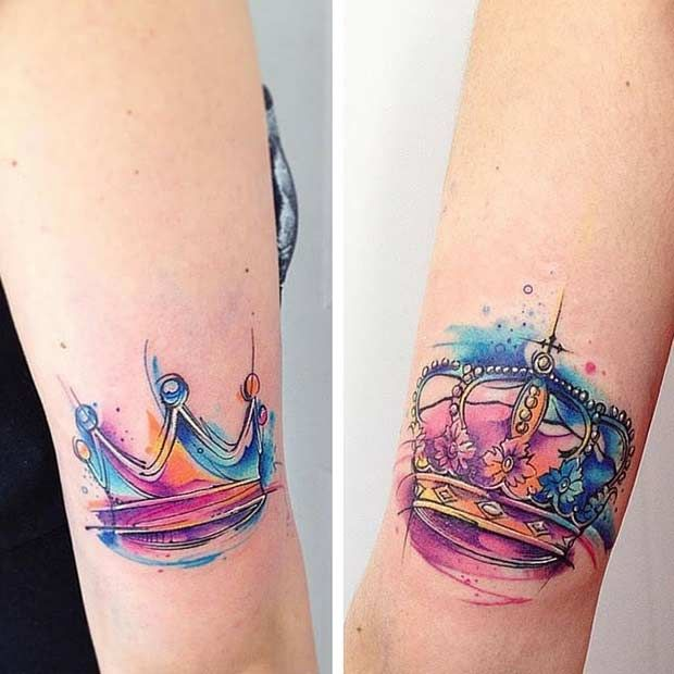 Color tattoos - matching couple tattoos