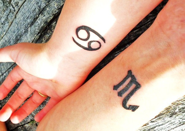 Zodiac signs - matching couple tattoos