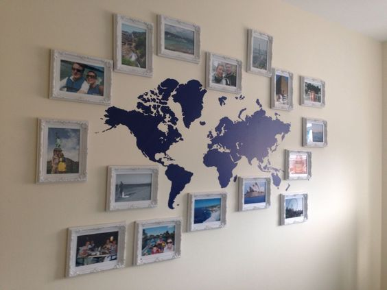 50 cool ideas to display family photos on your walls for Travel gallery wall ideas
