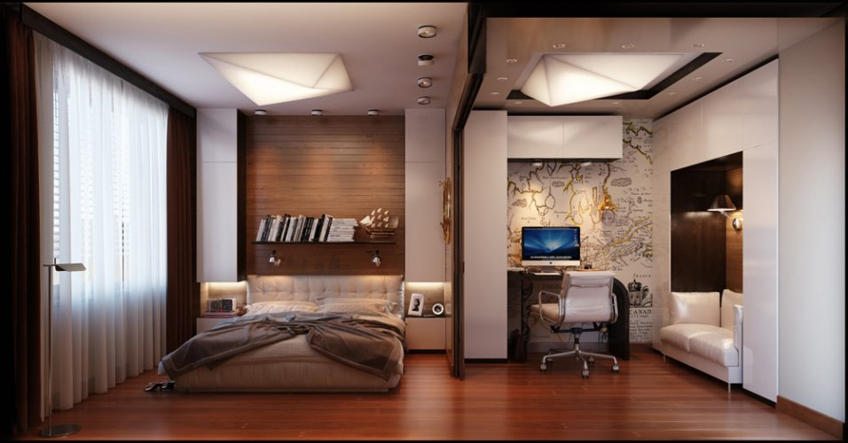 Semi-partitioning - modern contemporary masculine bedroom
