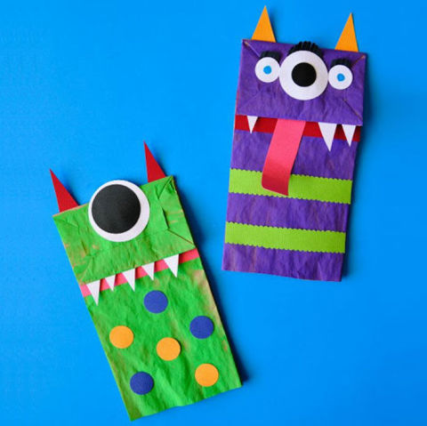 Paper Bag Monster Puppets - Kid-Friendly Halloween DIY Projects