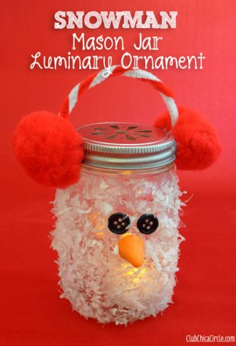 Snowman Luminary - cheap mason jar crafts