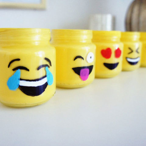 Emoji Mason Jars - cheap mason jar crafts