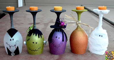 Wine Glass Candle Holders - Kid-Friendly Halloween DIY Projects
