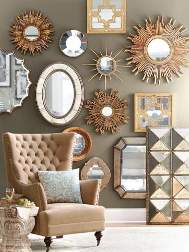 Mirror collection wall - creative gallery wall ideas