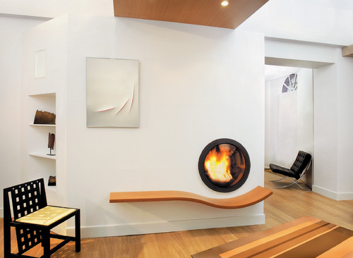 Circular fireplace-Flat screen fireplace