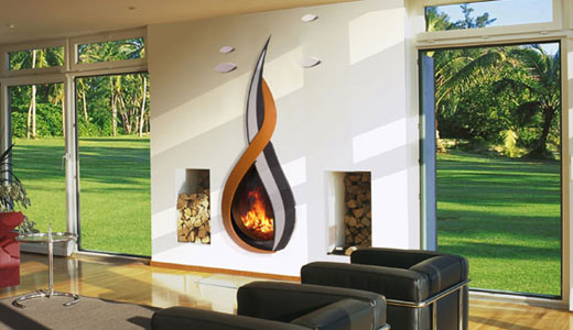 Designer fireplace-Flat screen fireplace