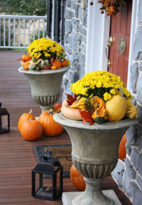 Pumpkins and yellow flowers - fall decorating ideas