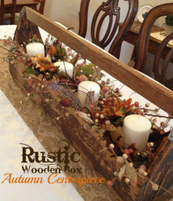 The rustic wooden box - fall decorating ideas