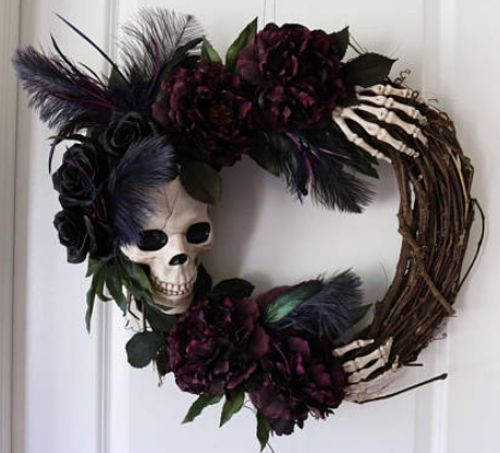 The gothic skeleton - Ghostly Handmade Halloween Wreath Ideas