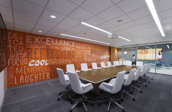 Fresh colors and inspirational messages in a conference room - modern conference room design ideas