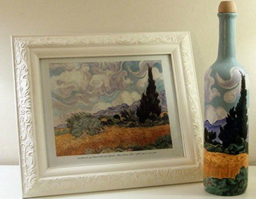 Van Gogh Art Wine Bottle - empty wine bottle projects