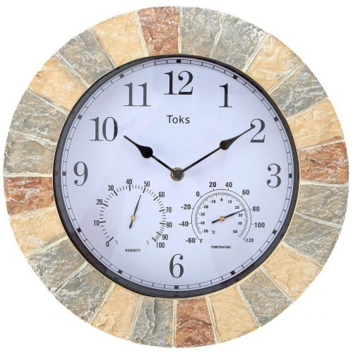 Lilyshome 14-Inch Faux-Stone Wall Clock - Best Outdoor Thermometers
